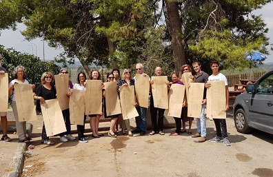 Activists raise Israel's Declaration of Independence during Knesset session