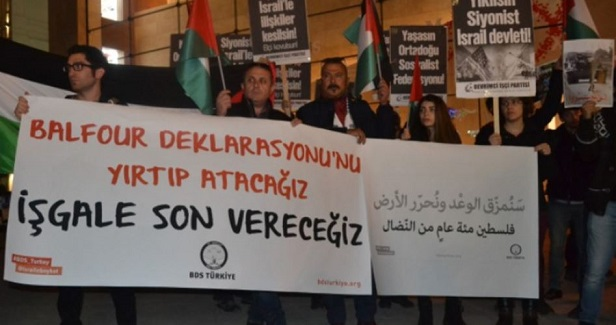 Protest in Istanbul on centenary of Balfour Declaration