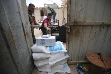 UNRWA distributes food aid to families in Gaza