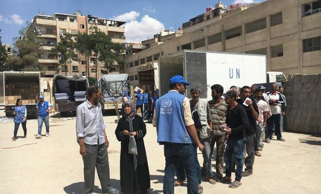 First UNRWA convoy in Two Years Reaches Palestine refugees in the Damascus suburb of Yalda