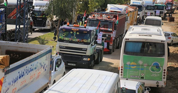 Truck rally in Gaza in protest at poor economic conditions