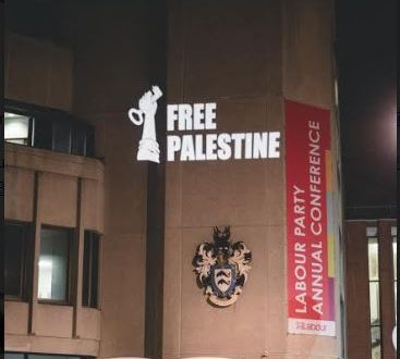 Labour Party Conference venue lights up with Palestine flag projection