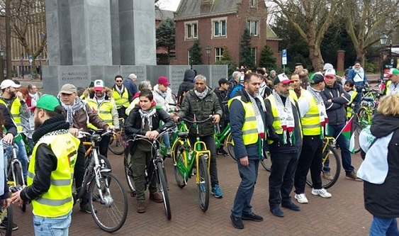 Cycling rally in The Hague against planned race in Israel
