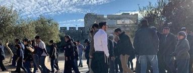 عشرات المستوطنون يقتحمون جبل البابا