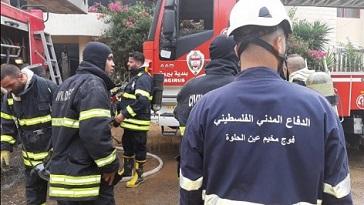 الدفاع المدني الفلسطيني يشارك بإطفاء حريق الزهراني