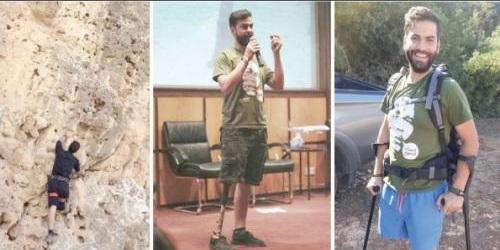 بساقٍ واحدة.. شاب فلسطيني يتسلّق