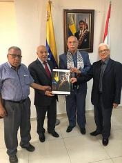 وفد قيادي من الجبهة الديمقراطية يزور السفارة الفنزويلية متضامنا