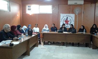 ورشة عمل للنسائية الديمقراطية الفلسطينية - ندى - قطاع المرأه في الجبهة الديمقراطية حول اوضاع اللاجئين الفلسطينيين في لبنان