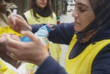 حملة للتلقيح ضد شلل الأطفال في مخيم اليرموك