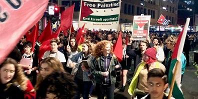 الآلاف يتظاهرون احتجاجا على نقل السفارة الأمريكية للقدس وتضامنا مع غزة وإحياءا للذكرى ال70 النكبة