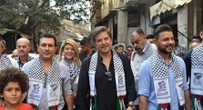 وليد توفيق وعمار حسن في زيارة لمخيم برج البراجنة للآجئين الفلسطينيين