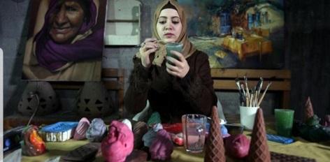 الفنانة قشطة : منحوتاتي تخلد أطفال الحرب على غزة