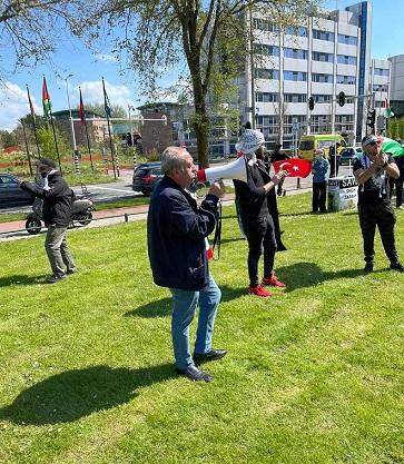 وقفة جماهيرية حاشدة تضامنا مع الشعب الفلسطيني في هولندا