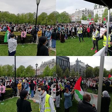 وقفة جماهيرية حاشدة في النرويج أسنادا للشعب الفلسطيني واستنكارا للعدوان الإسرائيلي المتواصل بحق الشعب الفلسطيني