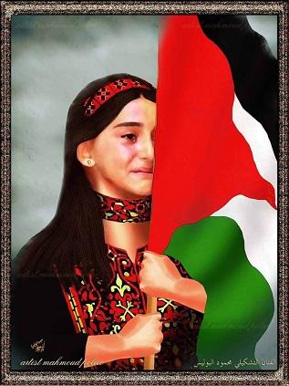 الطفلة سلوى شعت.. تخفي دموعها بالعلم الفلسطيني بعد سماعها اسم والدها الشهيد