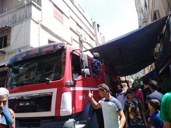 حريق في أحد المحال التجارية في مخيم العائدين بحمص