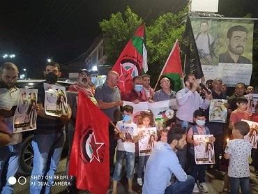 «الديمقراطية» في جنين تنظم وقفة مع الاسرى في سجون الاحتلال