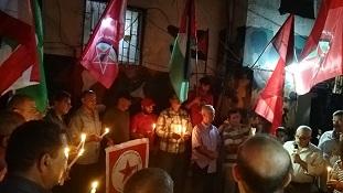اتحاد لجان حق العودة في البداوي يضيئ شموع الحداد على شهداء مرفأ بيروت .